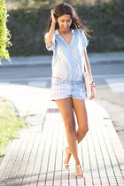 sky blue suiteblanco shorts - light blue suiteblanco blouse