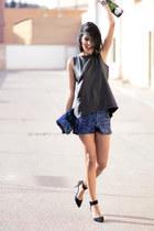 Stradivarus bag - blue Stradivarius shorts - black Zara blouse
