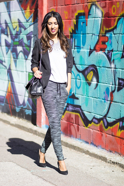 dark gray H&M blazer - heather gray H&M t-shirt - charcoal gray H&M pants