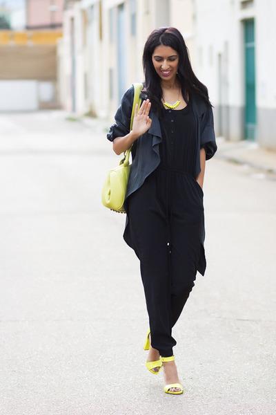 yellow BLANCO bag - dark gray Bershka romper - yellow Stradivarus sandals