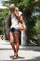 burnt orange BLANCO purse - blue Mango shorts - off white Mango blouse