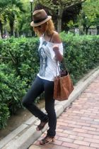 black Zara jeans - brown Carolina Herrera purse - brown Mango hat - brown Zara s
