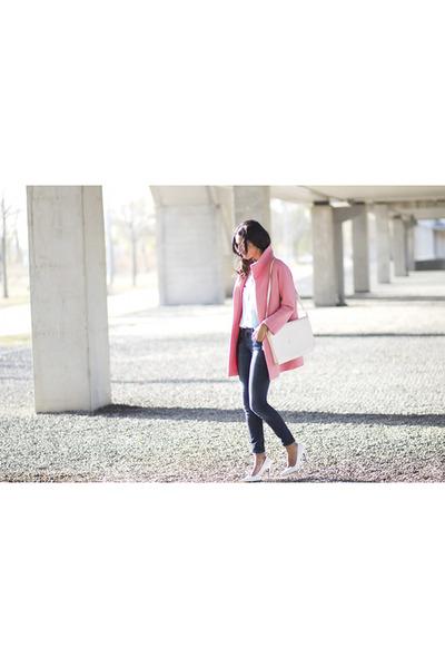 bubble gum Zara coat - sky blue Sheinside blouse