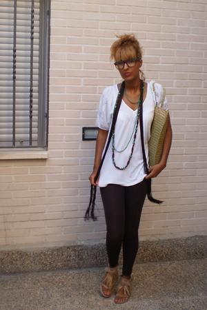 Bershka leggings - Zara shoes - Stradivarius blouse - asos glasses