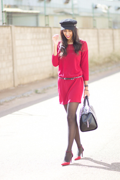 ruby red Bershka dress - ruby red Zara heels