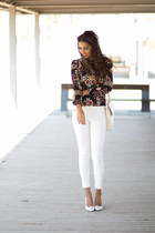 white Zara pants - navy sammydress blouse - white Mango heels