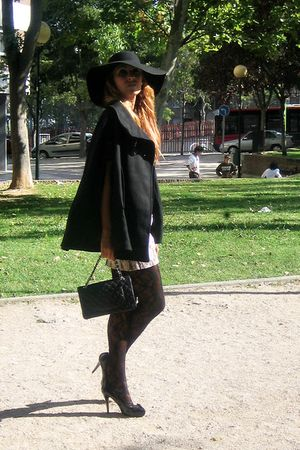 black Zara coat - black Chanel purse - black BLANCO shoes