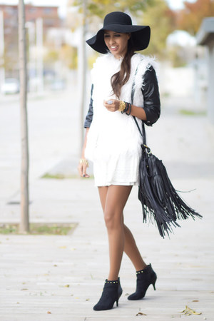 white Pull &amp; Bear vest - white Bershka dress