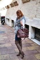 dark brown over the knee Antonio Reula shoes - tan faux fur BLANCO vest