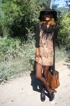 brown BLANCO dress - black Zara shoes - black Zara hat
