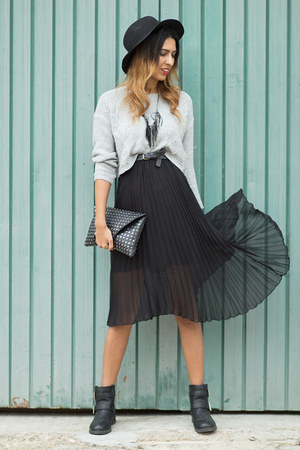 dark gray Sommes démode skirt - heather gray Stradivarius blouse