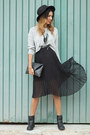 Dark-gray-sommes-démode-skirt-heather-gray-stradivarius-blouse
