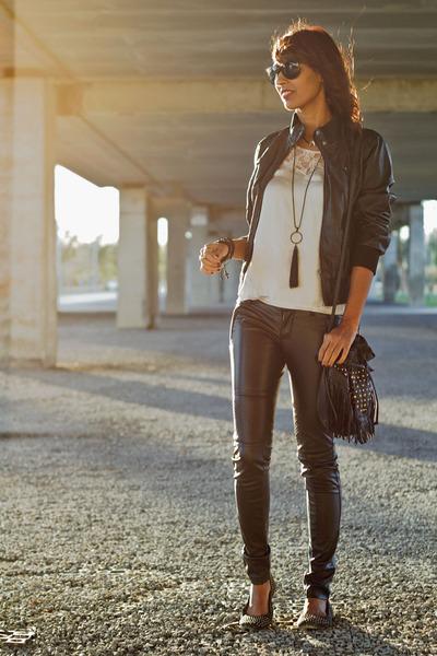 black BLANCO jacket - BLANCO shoes - Primark bag - light pink Bershka blouse