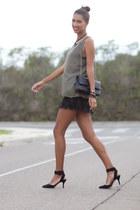 green Zara blouse - black Zara heels