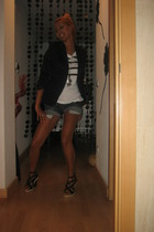 Zara blazer - Mango t-shirt - Bershka shorts - BLANCO shoes
