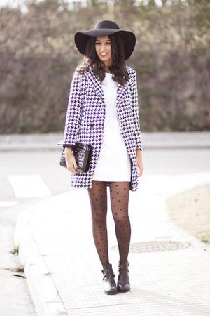 dark gray Sheinside coat - white Sheinside dress