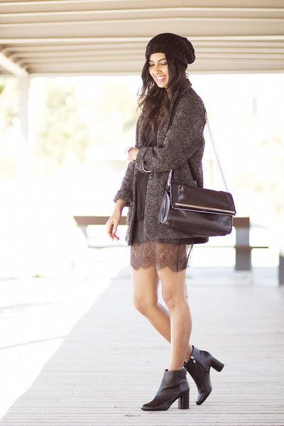 black Zara dress - charcoal gray Mango coat