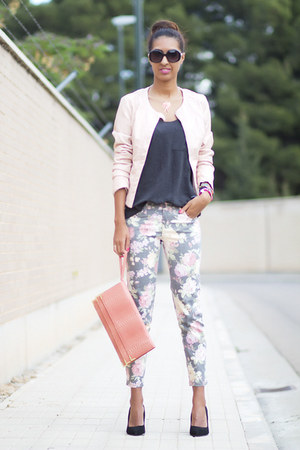 floral Stradivarius pants - light pink Stradivarius jacket