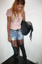 pink Top Shop blouse - blue Zara shorts