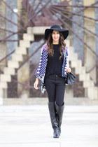 black Zara boots - black Zara jeans - navy Sheinside cardigan