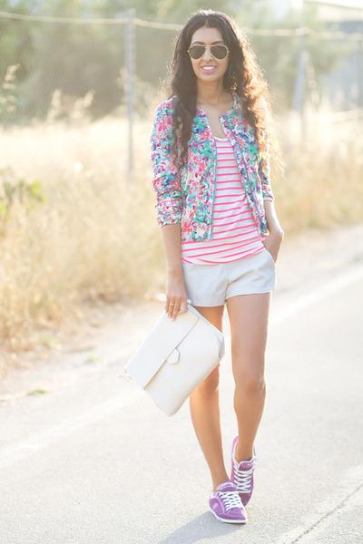 magenta Zara jacket - white Zara shorts - amethyst Yumas sneakers