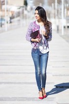 deep purple Sheinside blazer - blue pull&bear jeans - ruby red Zara heels