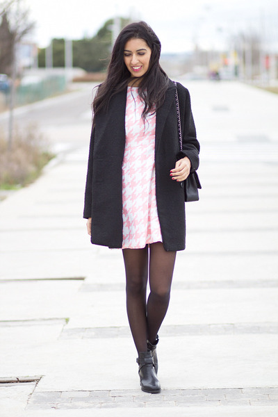 black pull&bear boots - bubble gum Choies dress - black Mango coat