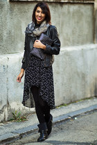 black Zara bag - beige Mango scarf - black Zara skirt