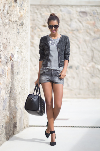 black Zara shorts - charcoal gray Bershka shorts - dark gray Zara bag