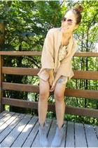 nude blazer - sunglasses - silver blouse