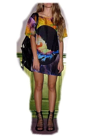 purple Ksubi dress - black ann demeulemeester shoes - Alexander Wang accessories