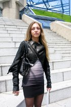 black Rick Owens jacket - gray herve leger dress - black Burberry accessories