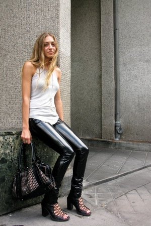 black pvc april 77 pants - black lace boots ann demeulemeester shoes
