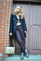 blue ASOS WHITE coat - purple vintage pants - blue Marc Jacobs shoes - pink By M