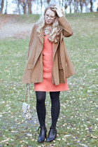 coral Lela Rose dress - black acne boots - light brown COS coat