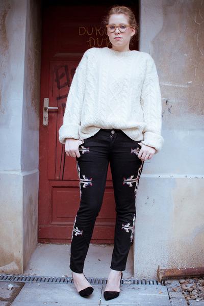 black Zara pumps - black Ebay jeans - ivory vintage jumper