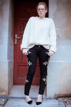 black Zara pumps - black Ebay jeans - ivory vintage jumper