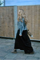 gray acne jacket - black Urban Outfitters dress - black All Saints cardigan - br