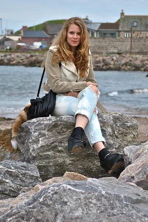 blue j-brand jeans - black Oasis shoes - beige adonis acne jacket