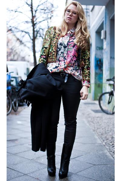chartreuse vintage jacket - black YSL boots - black Chanel bag