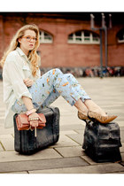 camel Isabel Marant pumps - light blue Topshop shirt - coral Valentino bag