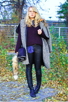 blue acne shirt - black sam edelman boots - charcoal gray Carven coat