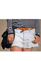blue Zara top - brown Topshop belt - blue vintage shorts - silver Tacheles rings