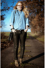 Brown-sam-edelman-boots-sky-blue-vintage-shirt-black-chanel-bag