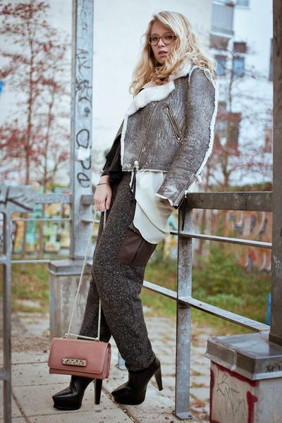 heather gray acne jacket - black Alexander Wang boots - coral Valentino bag