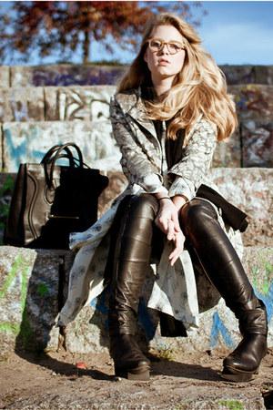 gold brocade Miu Miu coat - black trippen boots - black Celine bag