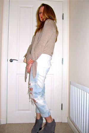 beige All Saints cardigan - white Zara t-shirt - blue J Brand jeans - gray acne