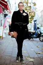 coral Valentino bag - black COS coat - black Cheap Monday jeans