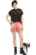 Charley 5.0 Coral Denim Shorts with Hombre Fringe