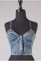 Denim Studded Bustier Corset Top